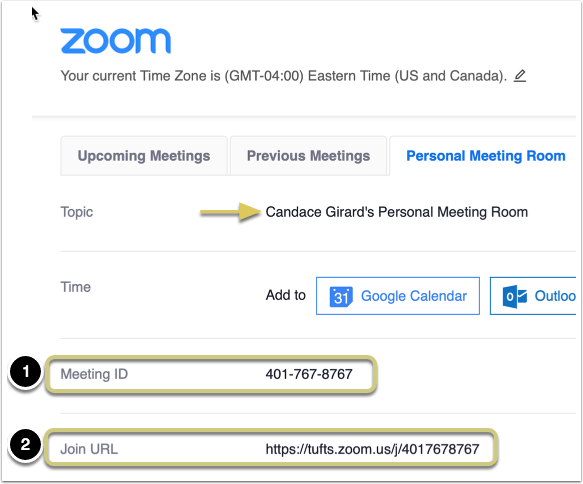 This displays the Personal Meeting Room details