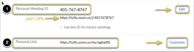 Note the difference between Personal Meeting ID and Personal Link.