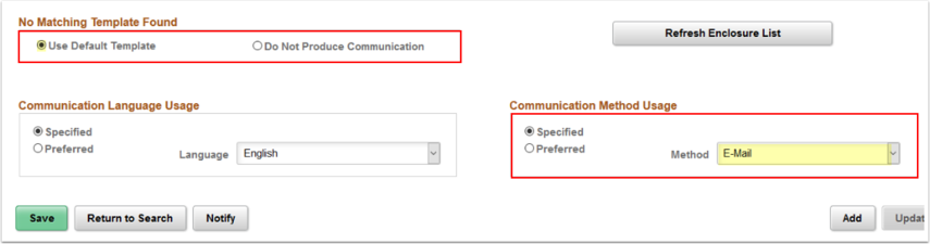 Selecting a Communication Method Usage (emai)