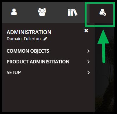 Arrow pointing to Admin icon