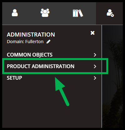 Arrow pointing to product administration