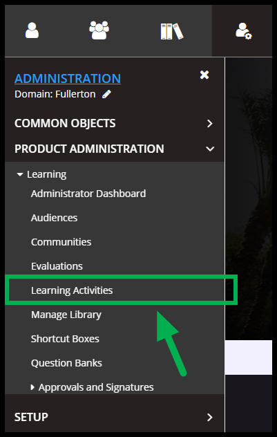 Arrow pointing to Learning Activities