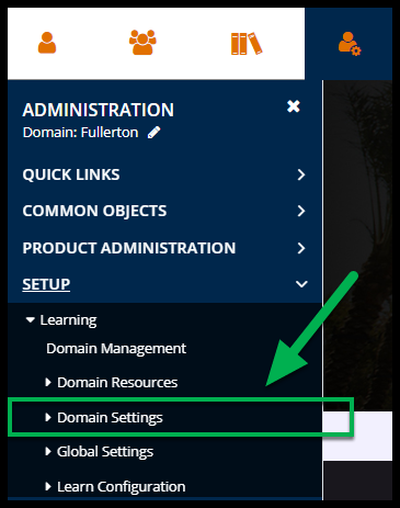 Arrow pointing to Domain Settings