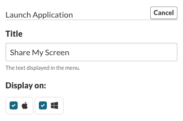 Launch Application - Title: Share My Screen