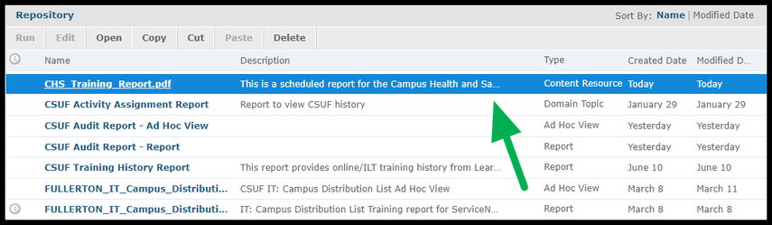 Arrow pointing to report on Repository page