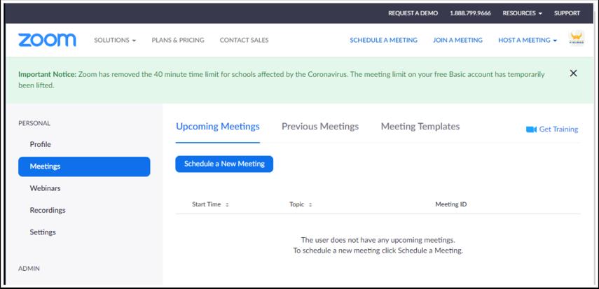 My Meetings - Zoom - Google Chrome