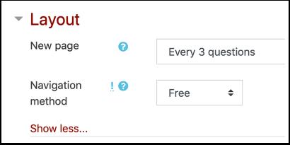 Quiz layout settings