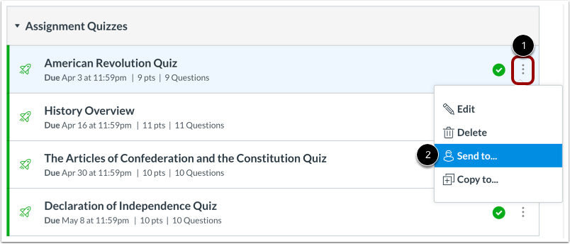 Open Quiz Options