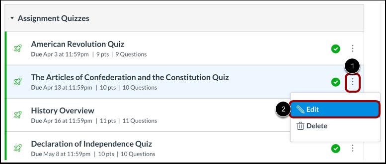 Edit Quiz