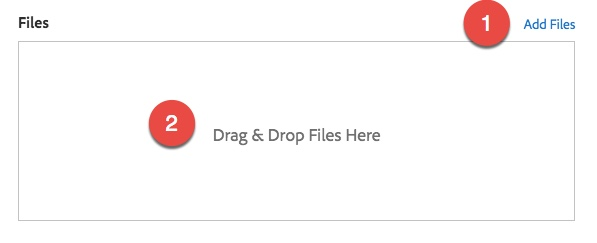 Highlight the Add Files link and Drag & Drop Files Here Box