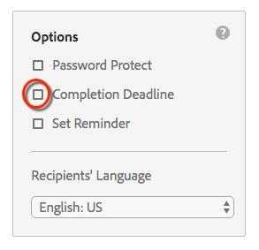 Circle highlighting Completion Deadline option