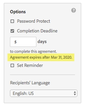 Agreement expiration date highlighted