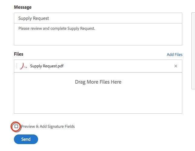 Preview & Add Signature Fields checkbox