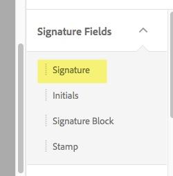 Highlight of Signature field option