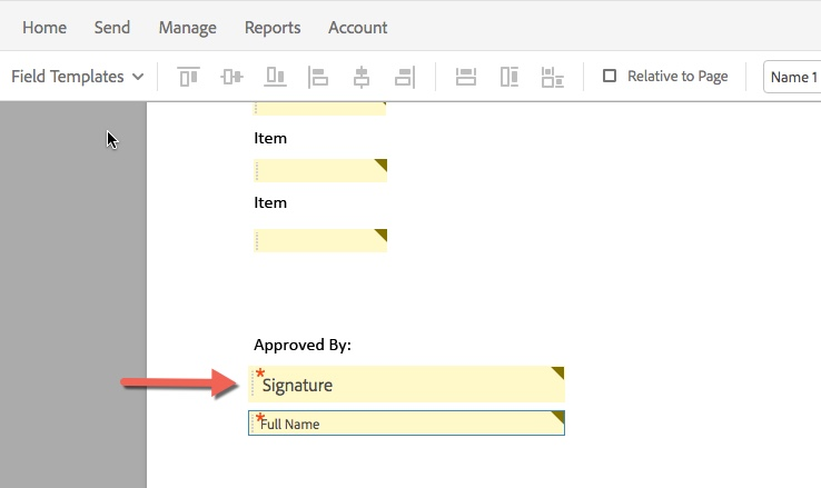 Arrow pointing to Signature field box