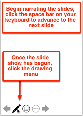 Begin narrating the slides, click the space bar on your keyboard to advance to the next slide. Once the slide show has begun, click the drawing menu.