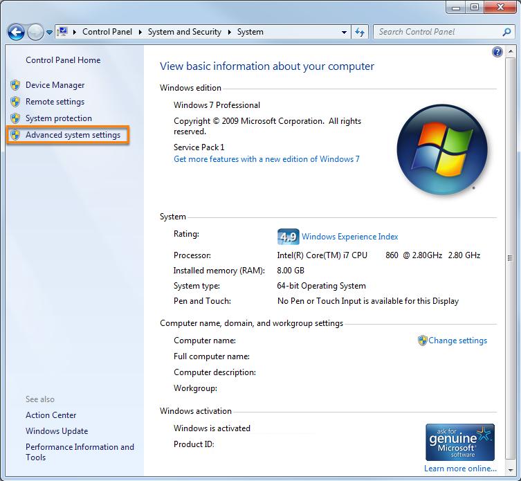 Configure advanced system settings
