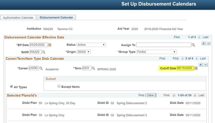 Disbursement ID Calendar with Cutoff Date highlighted