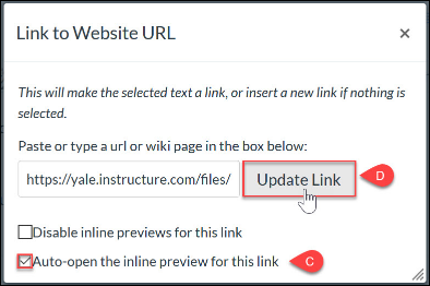 Select auto-open inline then click Update Link
