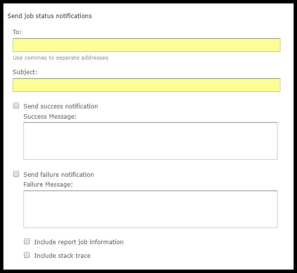Job Status notifications section