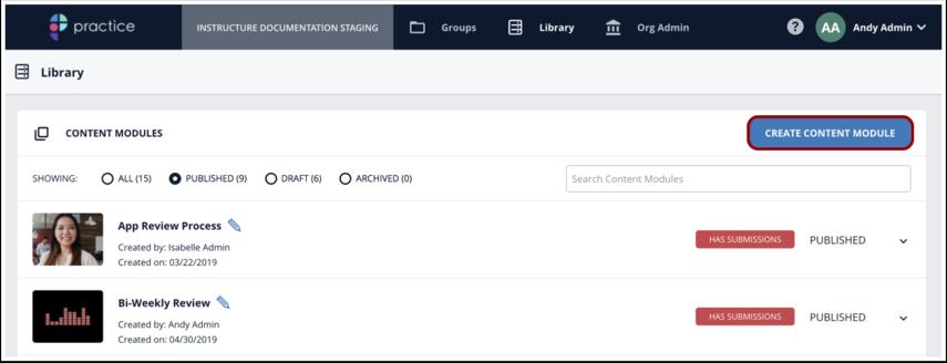 Click Create Content Module button