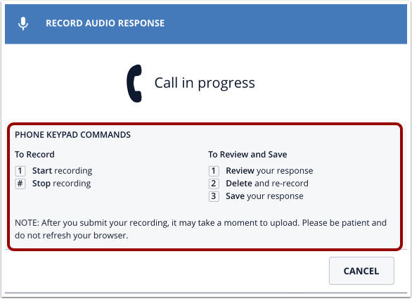 Record Audio Response message