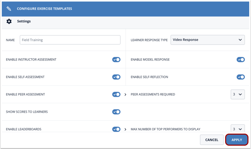 Configure Exercise Template tool