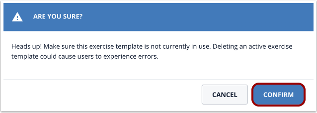 Confirm exercise template deletion