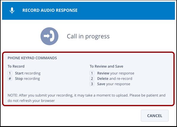 Record Audio Response message