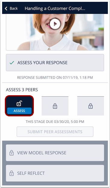 Image of mobile peer assessment stage screen