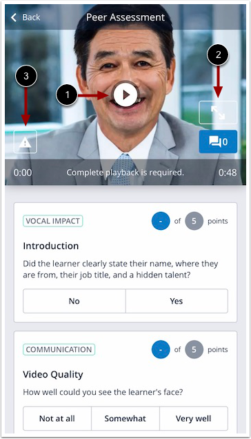 Image of mobile peer assessment form and video