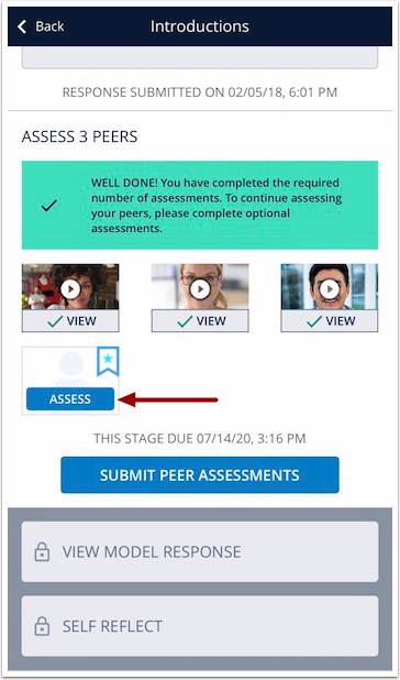 Image of mobile exercise steps screen with Assess Optional thumbnail highlighted