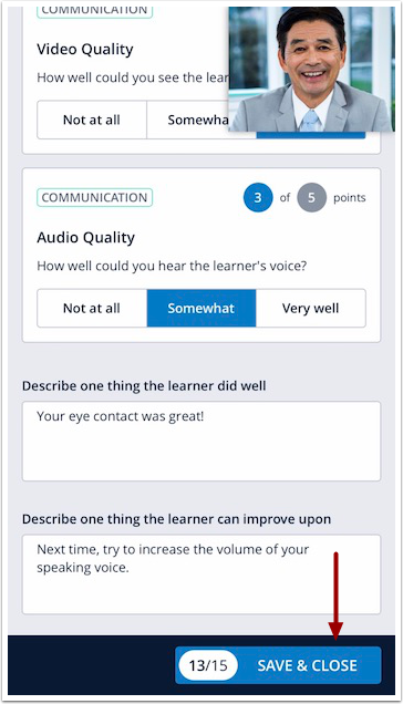 Image of mobile peer assessment screen with Save & Close button highlighted