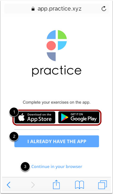 Image of a mobile browser page that displays the options for completing the exercise