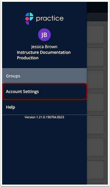 Open Mobile Account Settings