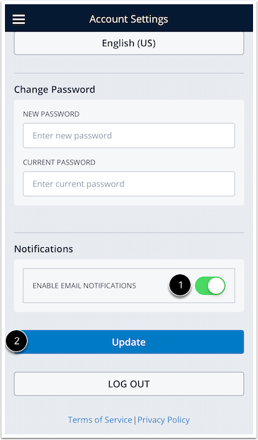 Edit email notifications and update settings