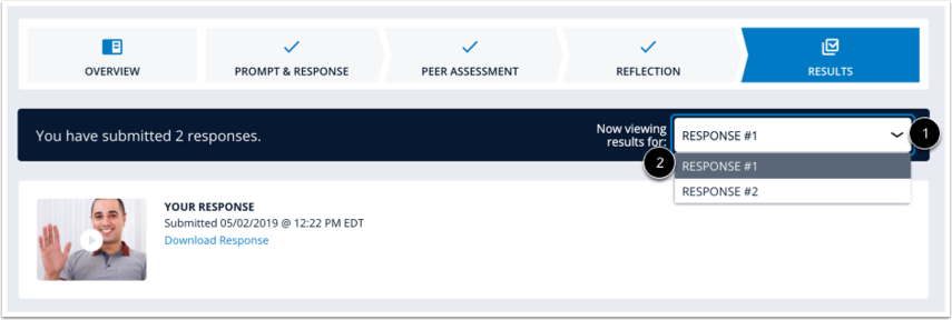 Exercise Results page with Submitted Response drop-down list extended