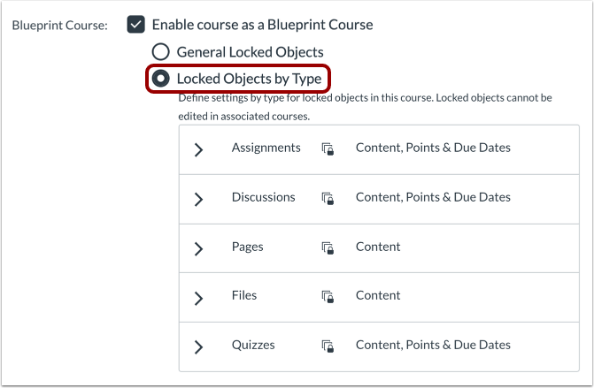 Course Settings Objects by Type