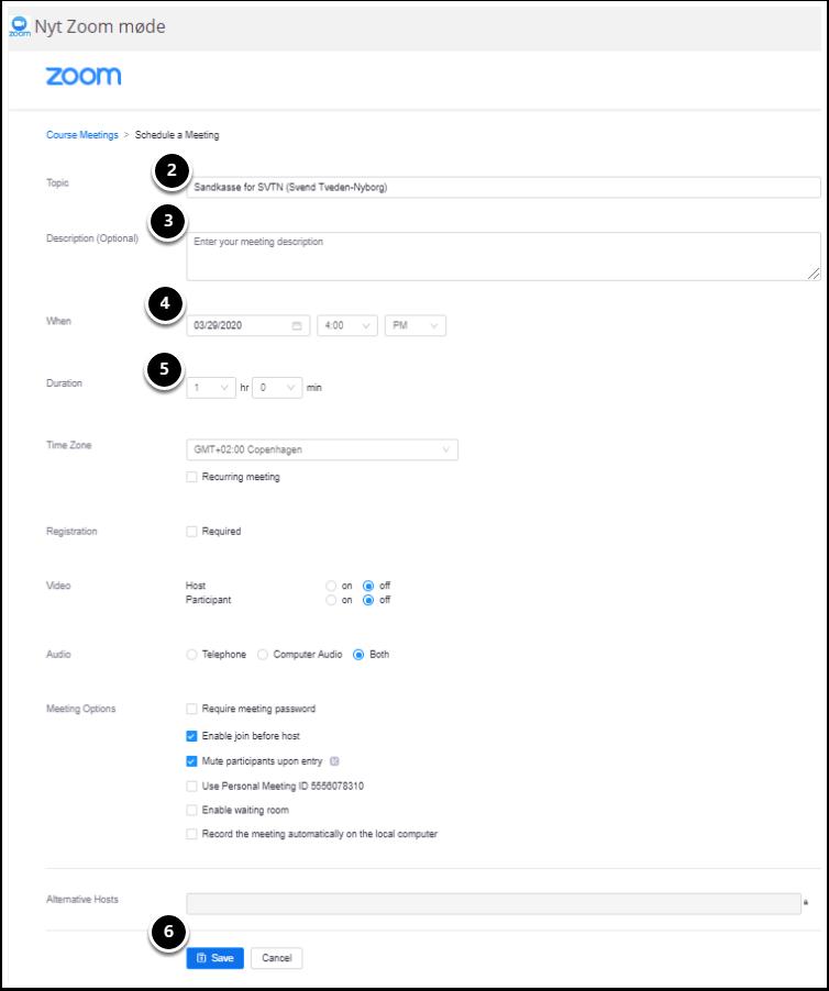 Nyt Zoom møde – Google Chrome