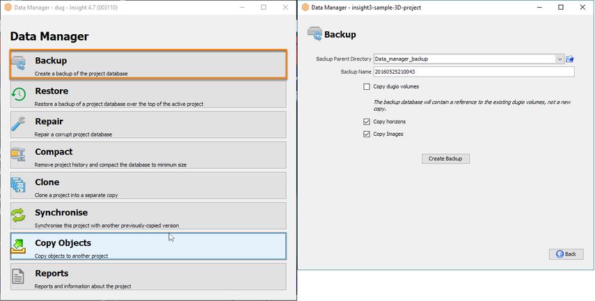 Copy database via Data Manager