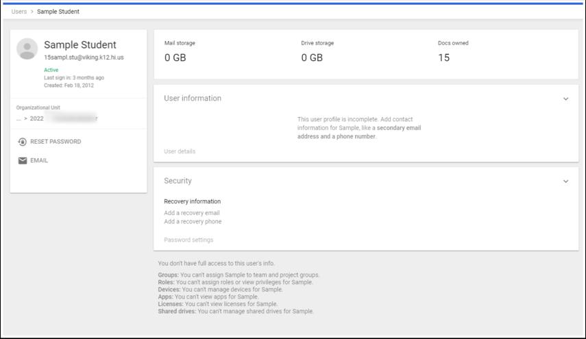 Sample Student - Admin Console - Google Chrome