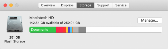About This Mac > Storage