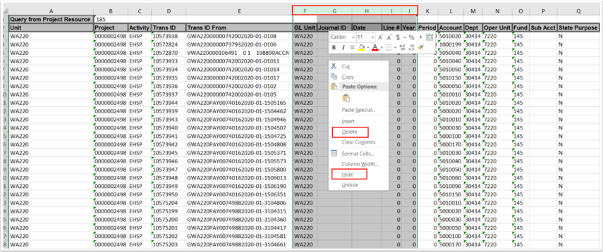 Page displaying the excel functions of hide or delete unnecessary columns.