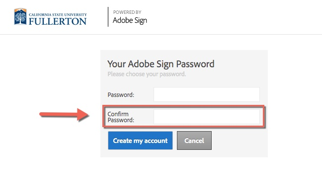 Arrow pointing to Confirm Password field