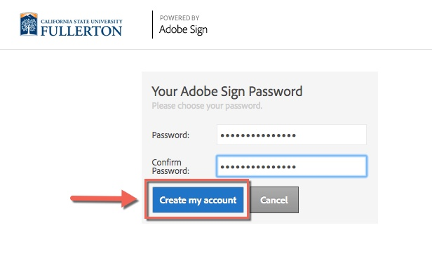 Arrow pointing to Create my account field