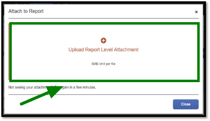 Green arrow pointing towards Upload Report Level Attachment button for uploading documents to an Expense Report.