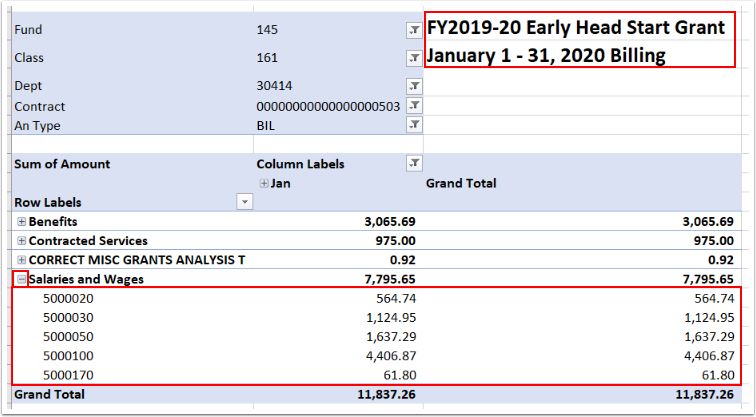 Outside of the Pivot Table data, option to add title. Within the Pivot Table data, optional to further drill into data like types of Salaries.