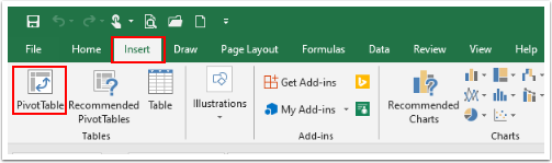 Select the Insert tab on excel spreadsheet to select Pivot Table