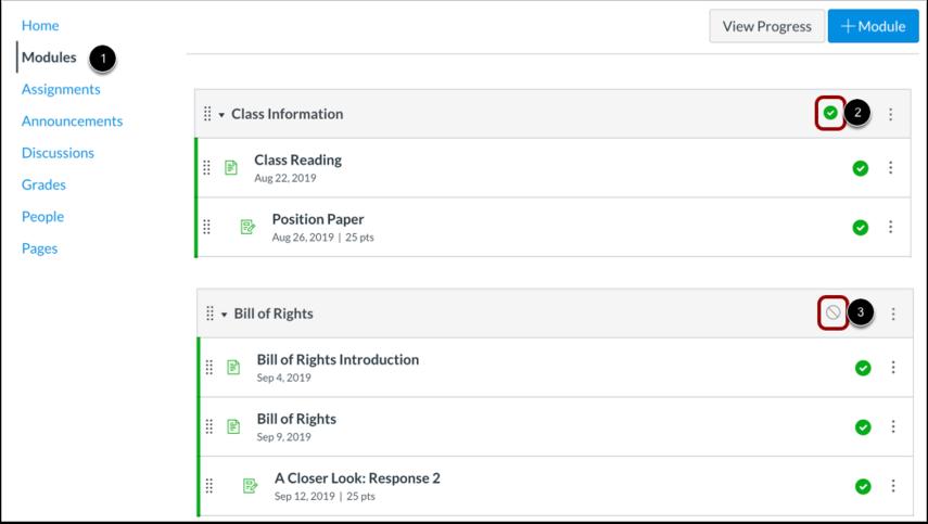 View Module Publish Status