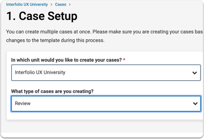 Search for or select the type of case you want to create  from the dropdown menu